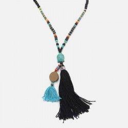 Collier Long De Perles Pompon Et Tête De Bouddha