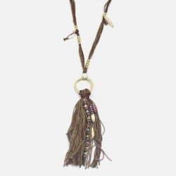Collier Long De Coquillages Et Pompon Franges