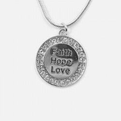 Collier Court Cercle Strass Faith Hope Love