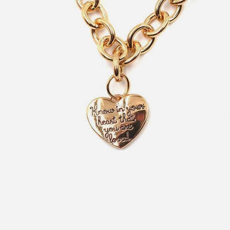 Collier Court Métal Coeur Know In Your Heart That You Are Loved