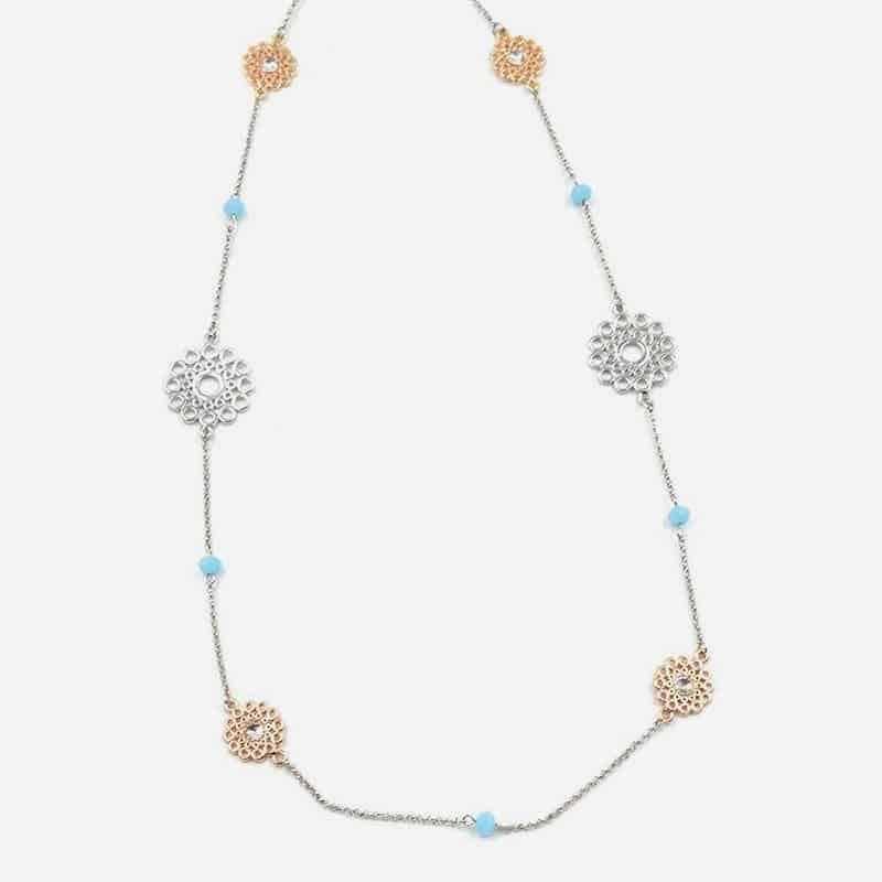 Collier Long Métal Rosace Et Perles De Verre