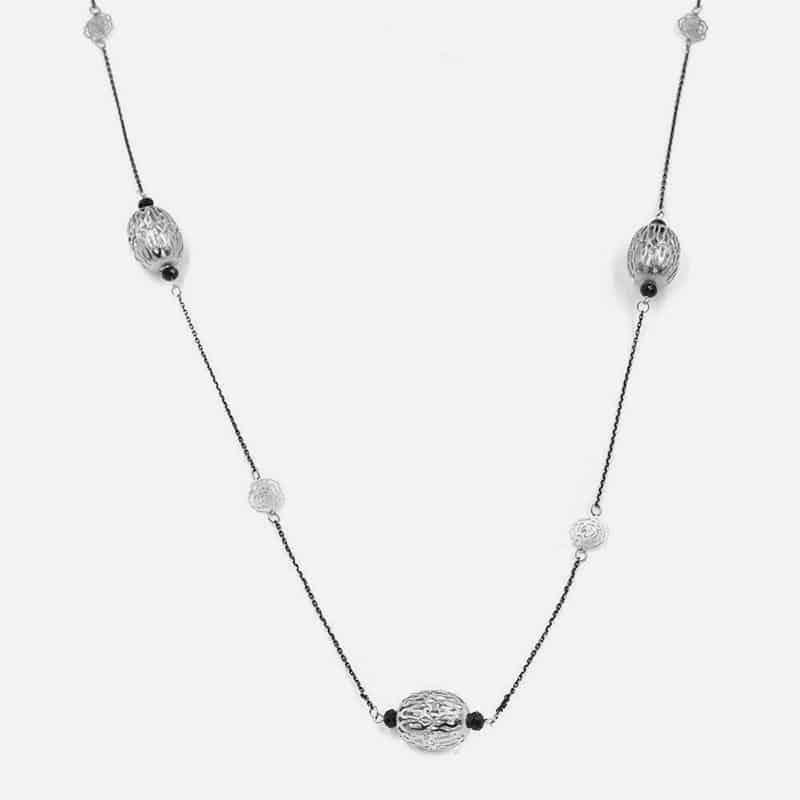 Collier Long Métal Ovale Strass Et Perles