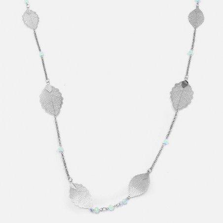 Collier Long Métal Feuilles Et Perles De Verre