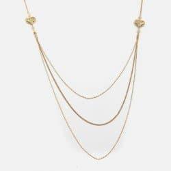 Collier Long Métal Coeur Et Perles De Verre