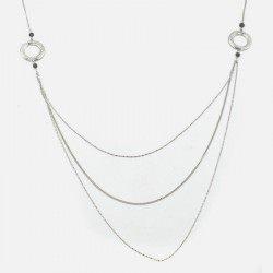 Collier Long Métal Cercle Strass Et Perles De Verre