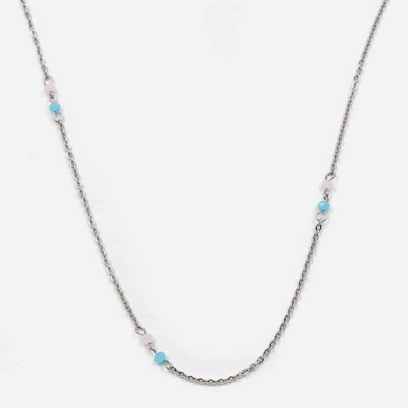 Collier Acier Inoxydable Multiples Double Perles