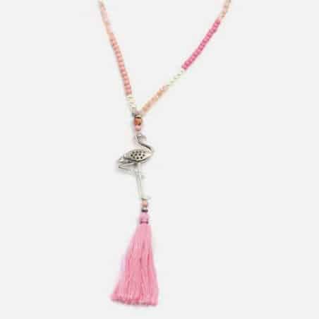 Collier Long Perles Flamant Rose Pompon