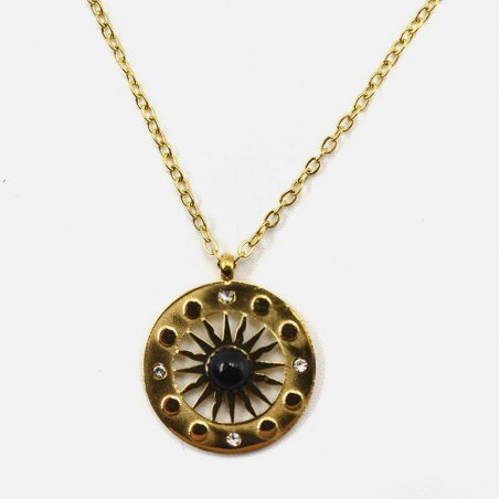 Collier Acier Inoxydable Cercle Rosace Strass