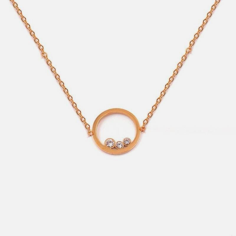 Collier Acier Inoxydable Cercle Strass B