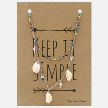 Collier Acier Inoxydable Perles Et Coquillages