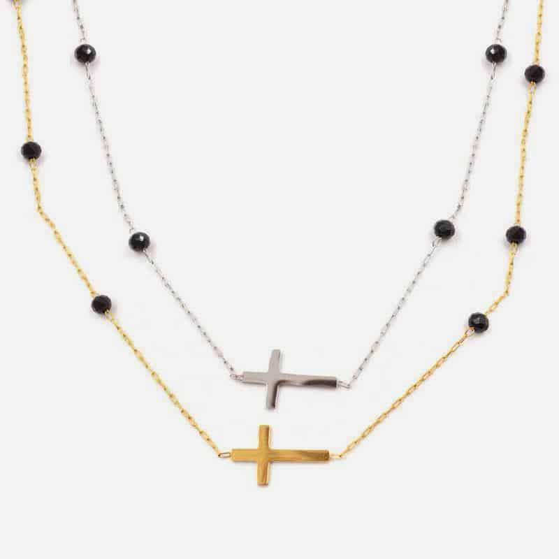 Collier Double Acier Inoxydable 70 Cm + 60 Cm Croix Et Perles
