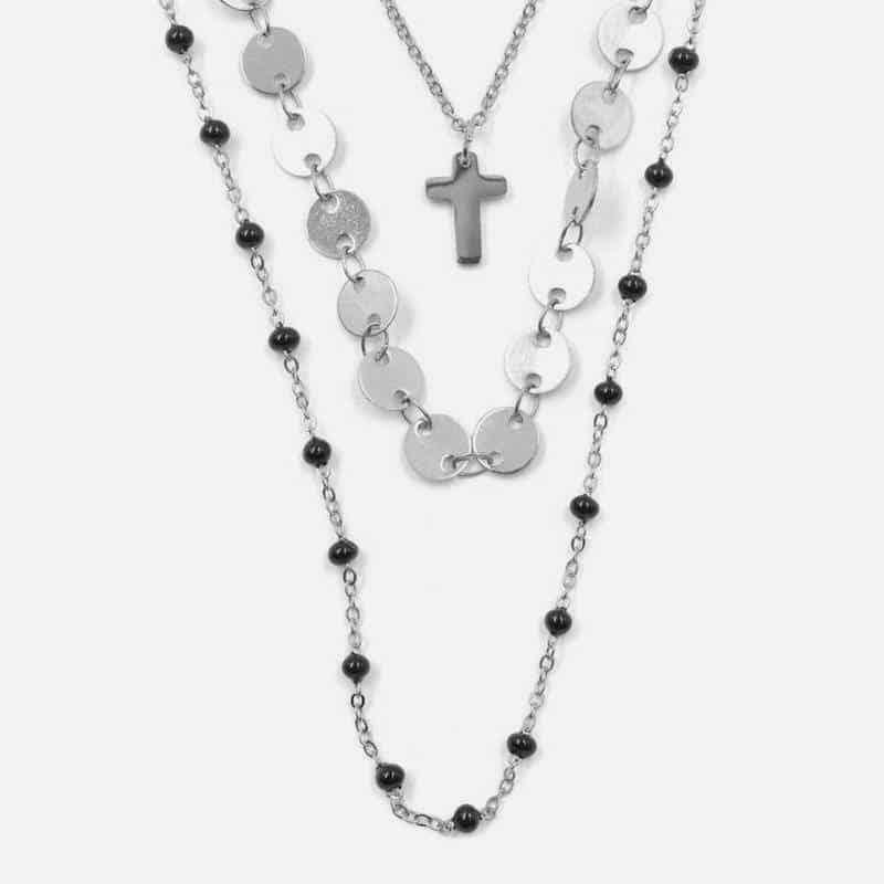 Collier Triple Acier Inoxydable 80 Cm + 60 Cm + 40 Cm Croix Perles Et Pendilles