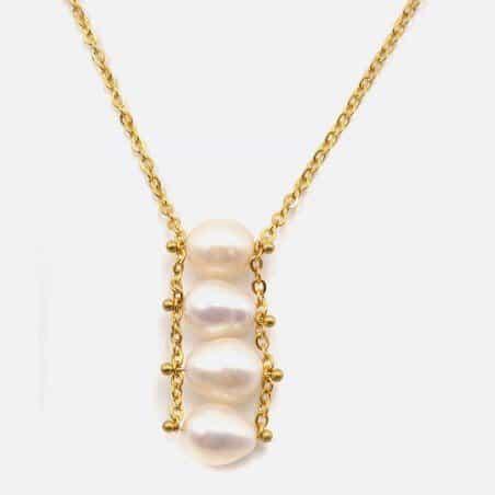 Collier Acier Inoxydable Perles De Keshi ( Perle Deau Douce )