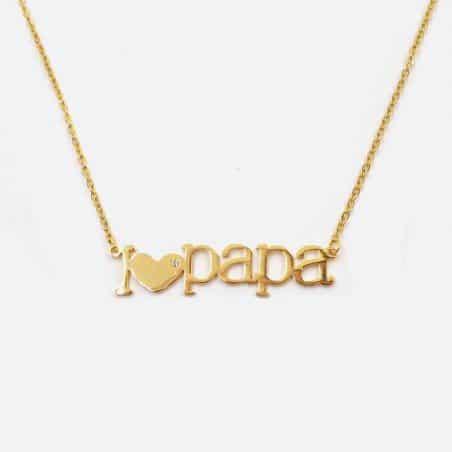 Collier Acier Inoxydable I Love Papa
