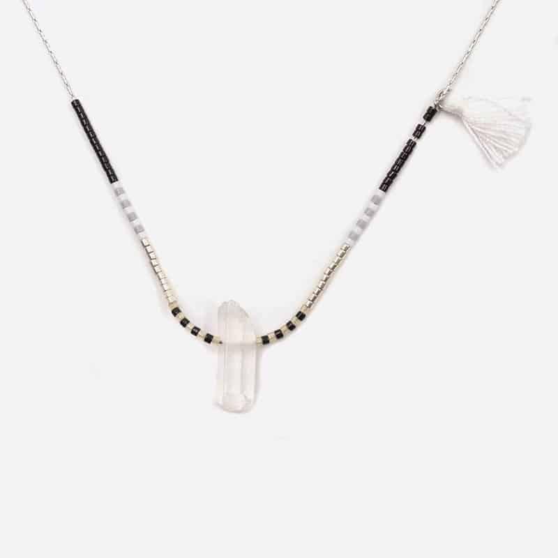 Collier Acier Inoxydable Perles Pierre Naturelle Et Pompon