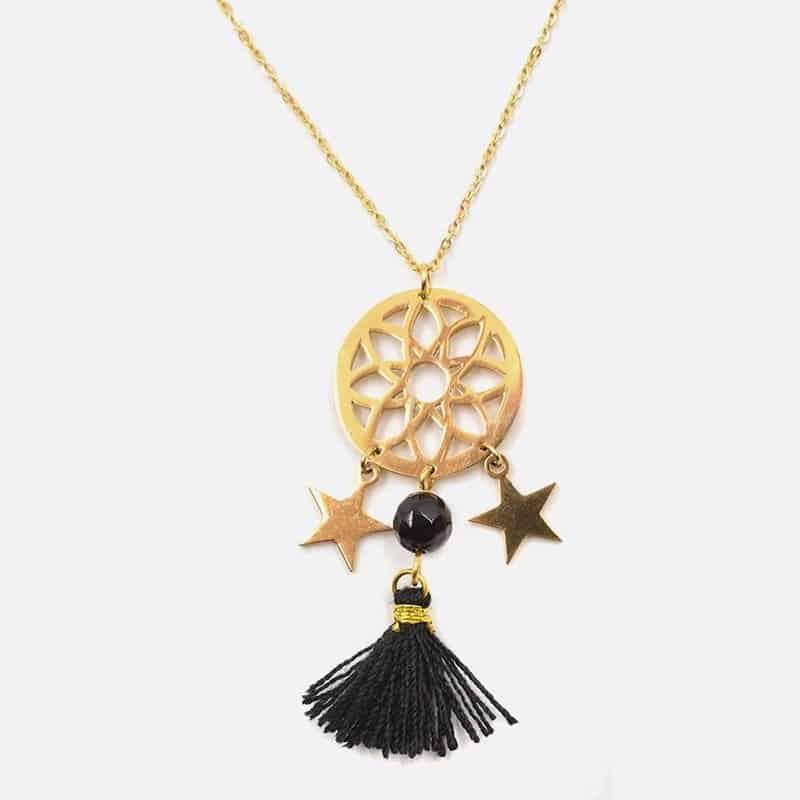 Collier Acier Inoxydable Rosace Etoile Perle De Verre Et Pompon