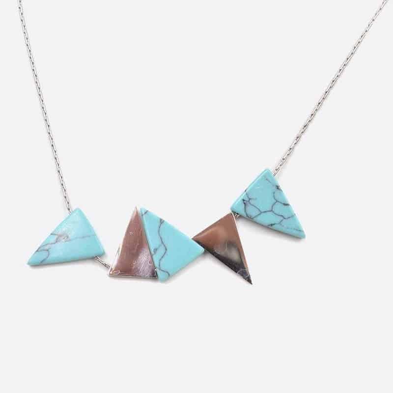Collier Acier Inoxydable Triangles Pierre Naturelle