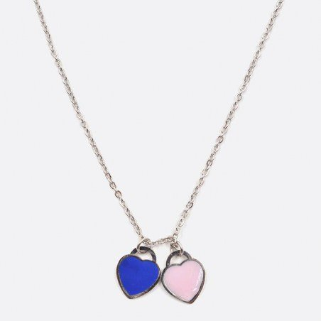 Collier Acier Inoxydable Double Coeur