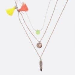 Collier Triple Acier Inoxydable Perle De Verre Plume Et Pompon