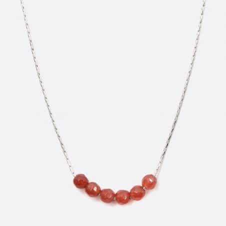 Collier Acier Inoxydable 5 Perles De Verre