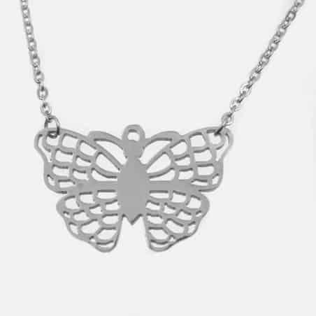Collier Acier Inoxydable Papillon A