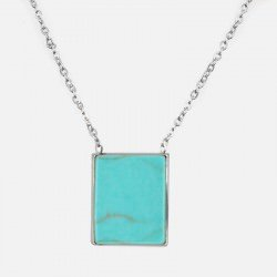 Collier Acier Inoxydable Rectangle Pierre Synthétique