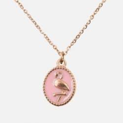 Collier Acier Inoxydable Médaillon Flamant Rose