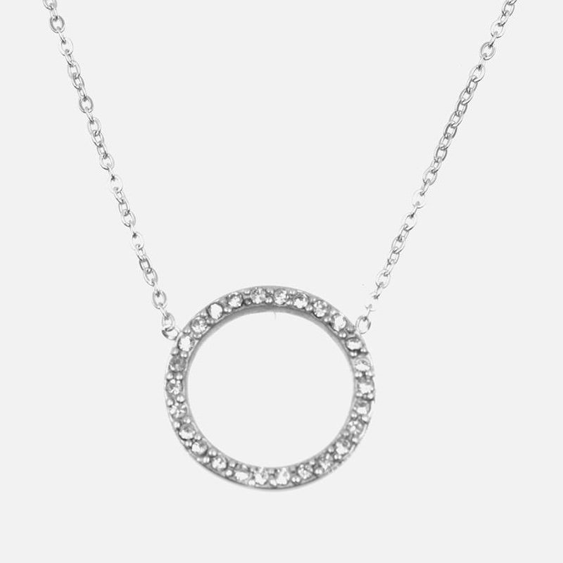 Collier Acier Inoxydable Cercle Strass A