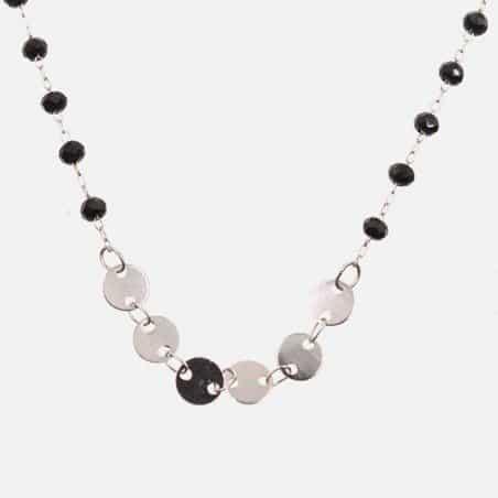 Collier Acier Inoxydable Perles Et Médaillons