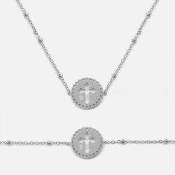 Ensemble Collier Et Bracelet Acier Inoxydable Cercle Croix
