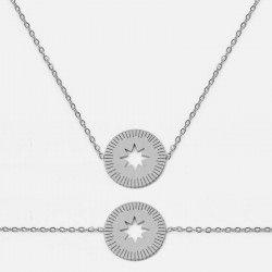 Ensemble Collier Et Bracelet Acier Inoxydable Cercle Etoile