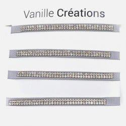 Pack De 4 Bracelets Bande Strass Couleurs Unis