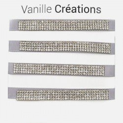 Pack De 4 Bracelets Bande Large Strass Couleurs Unis
