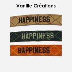 Pack De 3 Bracelets En Coton Tissé Happiness