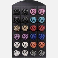 Pack De 12 Paires De Boucles Doreille Rose Strass