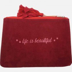 Pochette Avec Pompon Life Is Beautiful 19 X 26 Cm