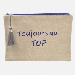 Pochette Toujours Au Top 50 % Coton 50 % Jute 13 X 17 Cm