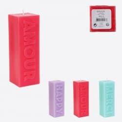 Bougie Bloc 3d Avec Message En Relief H15.2cm