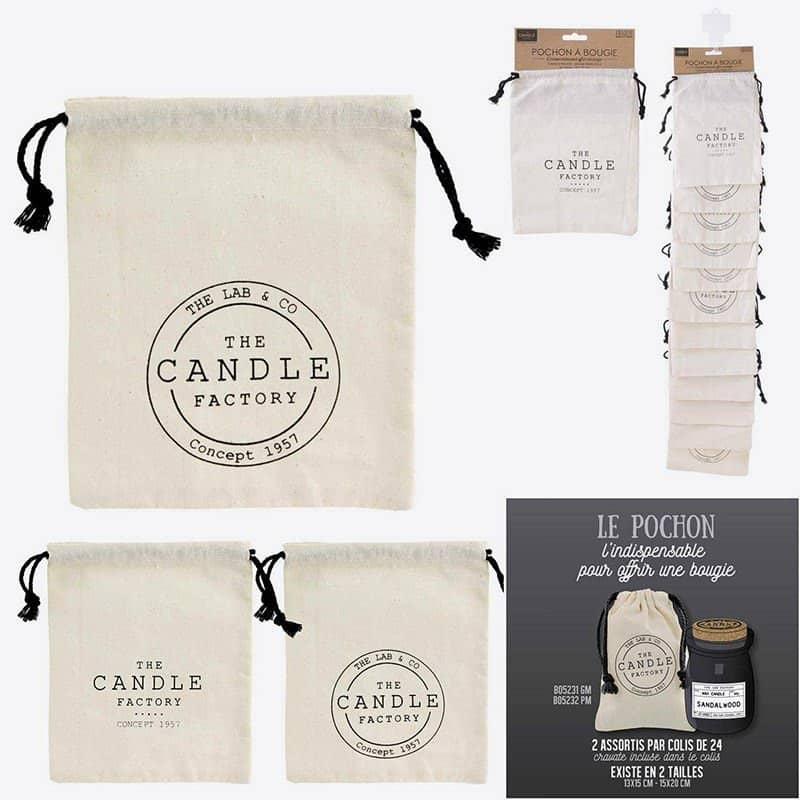 Pochon A Bougie En Coton Candle 15x20cm