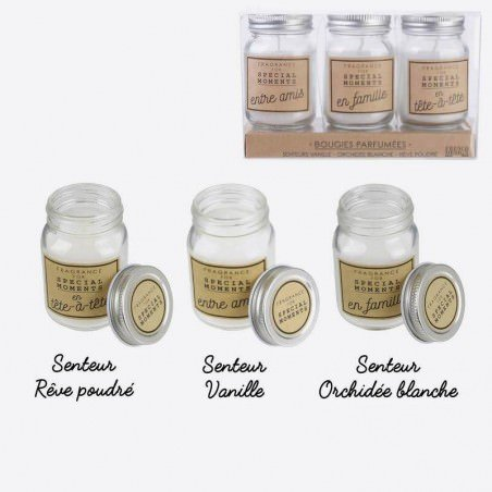Pack 3 Bougies Parfumees Bocal Moments 17 X 11 X 6 Cm