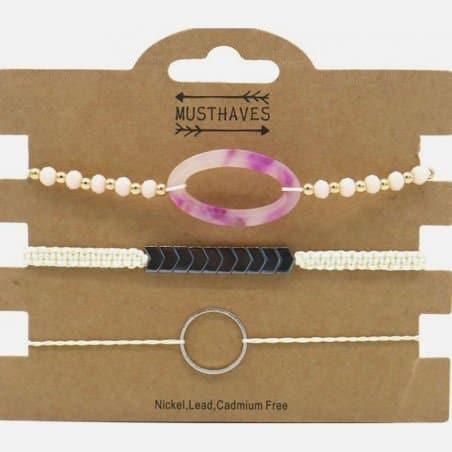 Pack de 3 Bracelets Cercle et Perles