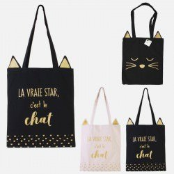 Tote bag chat 36 X 26 X 1.5 CM