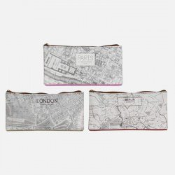 Pochette En Carton Ecologique Carte Paris London Berlin 21.5 x 10.5 cm
