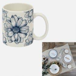 Mug cottage porcelaine bleu...